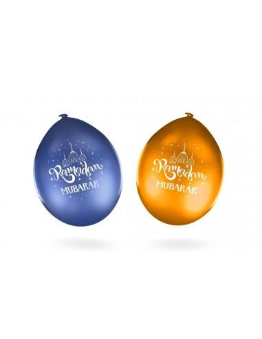 Ballon Ramadan Mubarak Blauw/Goud (10...