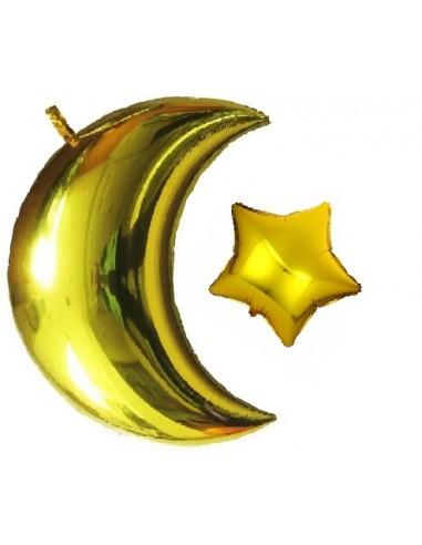 Ballon Maan + Ster (Goud)