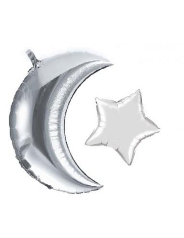 Ballon Maan + Ster (Silver)