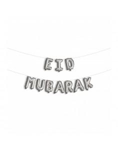 Eid mubarak folieballon zilver