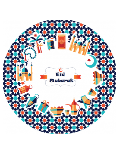 Eid Mubarak Bordjes blauw/turqoise